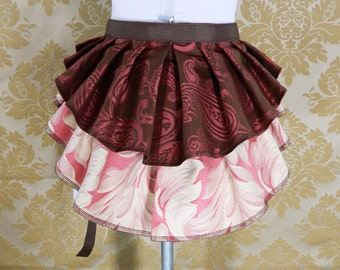 "ON SALE!  New Longer Pattern 2 Tier Bustle Belt Overskirt - Sz. XS/S - Brown, Rose, & Ivory - Fits up to 45"" Waist"