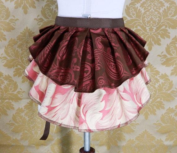"ON SALE!  New Longer Pattern 2 Tier Bustle Belt Overskirt - Sz. XS/S - Brown, Rose, & Ivory - Fits up to 45"" Waist"