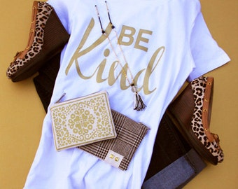 BE KIND t-shirt, hand printed