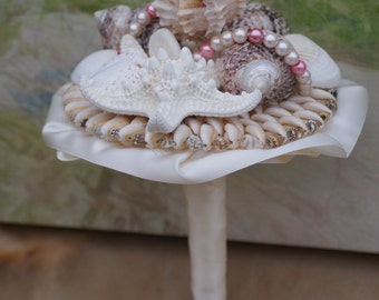 Wedding Season Pink and Ivory Seashell Bouquet / Beach Bouquet