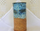 Handbuilt Stoneware Pottery Juice Glass, 6 oz, Bar Ware, Flowing Dark Blue. Cobblestone Texture, Burnt Orange, Small Tumblers