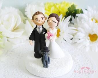 Custom Cake Topper- Couple & Grey Cat