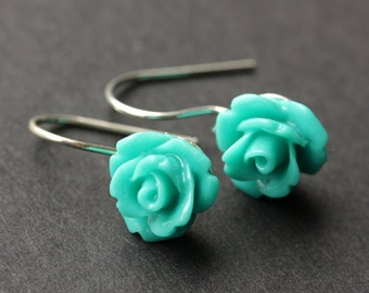 Turquoise Rose Earrings. Dangle Earrings. Turquoise Earrings. Flower Earrings with Silver Hooks. Flower Jewelry. Handmade Jewelry.