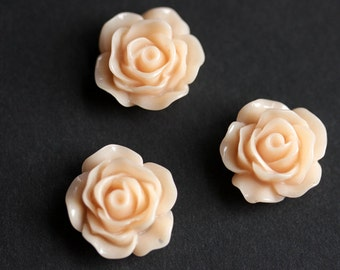 Peach Rose Flower Refrigerator Magnets. Set of Three. Peach Flower Magnets. Handmade Home Decor.