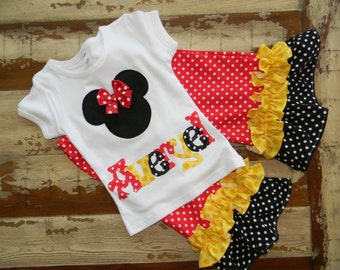 Disney Outfit...Minnie Top with Double Ruffle Pants - 0-3m to 8 years... Long or Short Sleeved