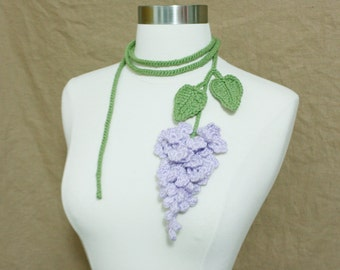 Unique Crochet, Crochet Lilac Necklace Lariat, Crochet Lilac Flower Necklace