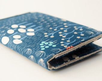 Business Card Holder,  Fabric Credit Card Case, Small Wallet, Navy