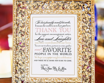 """Printable Wedding Thank You Note for Guests, INSTANT DOWNLOAD Calligraphy, Blush Pink, Gold, 8 x 10"""""""