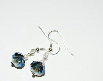 Blue Crystal Earrings, Simple Jewelry, Crystal Pearl Dangle Earrings, Bridesmaid Gift, Crystal Drop Earrings, Beaded Jewelry, Blue Earrings