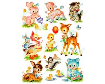 9 Baby animals, Vintage Digital download, Fluffy Animals, Vintage greeting card, Printable, Cards, Scrapbooking, Vintage collage sheet