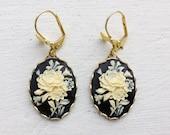 Rose Earrings/Black Earrings/Flower Earrings/Ivory Flower Earrings/Black and Cream Earrings/Cameo Earrings/Bow Earrings/Mother's Day Gifts