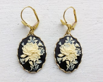 Rose Earrings/Black Earrings/Flower Earrings/Ivory Flower Earrings/Black and Cream Earrings/Cameo Earrings/Bow Earrings/Gifts For Her