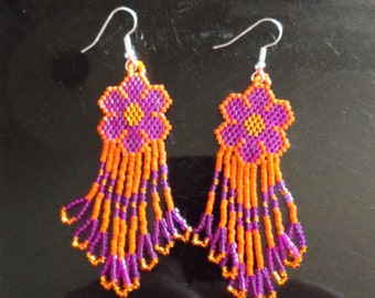 "Native American Style Beaded Daisy Flower Earrings in Orange Hot Pink. Gypsy, Brick Stitch, Peyote, Loom, Boho Southwestern ""Ready to Ship"""