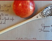Henna Design Woodburned Spoon #10, unique kitchen spoon with beautiful pyrography. One of a kind!