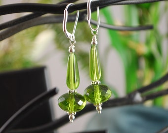 Green czech glass earrings, squared teardrop and rondelle, lever back earrings, green earrings, SRAJD