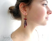 Copper earrings, burgundy oxblood, red coral earrings, dangle earrings, lampwork beads, boho, gypsy earrings