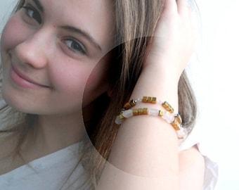 Silver bracelet, beaded bracelet, simple bracelet, roa Quartz and golden Piryte, gemstone bracelet, gold and pink, minimal jewelry