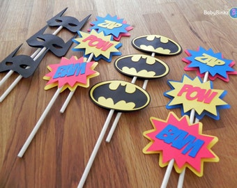 Die Cut Batman Logo Cupcake Toppers - superhero batman comic birthday party decorations wedding