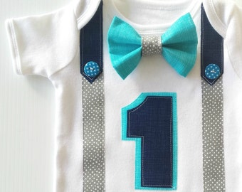 1st Birthday Boy Navy, Grey and Bright Aqua Blue Bow Tie  All In One One Piece Bodysuit Birthday Party