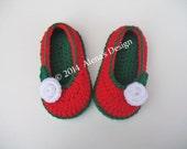 Crochet Pattern 109 - Crochet Slipper Pattern for Toddler Rose Slippers Christmas Slippers Crochet Booties Pattern Girls Slippers Pink Red