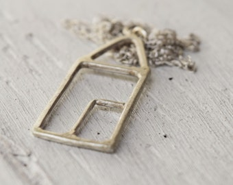 Sterling Silver Tiny House Necklace - House Pendant - Simple Jewelry - Wirework - Custom Made - Christmas - Gift For Her