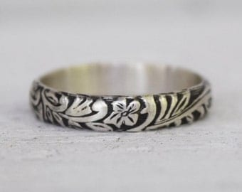 Sterling Silver Scroll and Floral Ring - Wedding Band - Renaissance Jewelry - Handcrafted - Bohemian Ring -  Custom Made