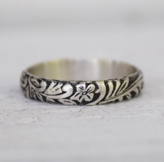 Boho Scroll and Floral Ring - Sterling Silver Wedding Band - Renaissance Jewelry - Hand Forged Jewelry - Bohemian Ring -  Custom Made