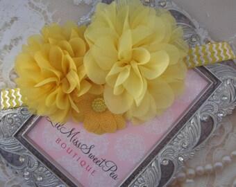 Shades of Yellow Cluster Flower Headband