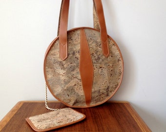 Vintage Round Cork Handbag Les Lieges Serge by Made In France