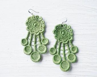 Green Lace Earrings