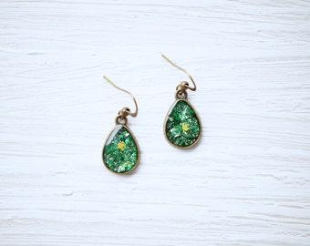 Green Glitter Teardrop Earrings