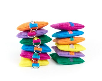 Bright Felt Keychain Coin Pouch Kids Stocking Stuffer Eco Friendly Keyring Purse Party Favour
