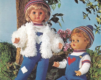 Vintage Knitting Pattern for Winter Outfits for 20 Inch Dolls Clothes