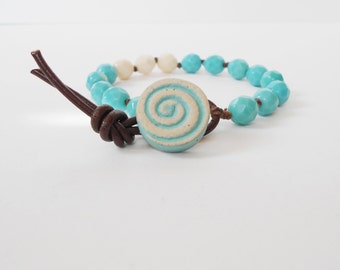 turquoise beed bracelet, hand knotted boho bracelet, unique aqua bracelet, handmade bracelet, stacking bracelet, arm candy, gift for her