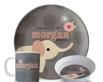 Child's Personalized Plate Set, Girl's Elephant 3 Piece Set, Plate, Bowl, Mug Set, Baby Name, Melamine Dinner Plate