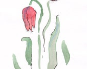 Watercolor abstract. Tulips illustration wall art. Floral brush sketch on A4 paper. Flowers drawing for home decor.