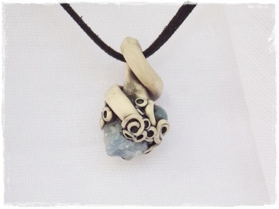 Rough Sapphire Pendant Protection Necklace Sapphire StoneUnpolished Sapphire Necklace