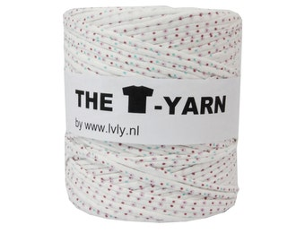 The t-shirt yarn 120-135 yards, 100% recycled cotton tricot yarn, dotted 11