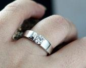 Forever One Moissanite Engagement Ring Modern Tension .80ct 6mm Diamond Modernisme Custom White-Yellow-Rose Gold-10k-14k-18k-Platinum