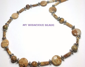 "Handmade 20"" NECKLACE Leopard Jasper  Brown Tones and Silver ACCENT Beads Hook Closure"