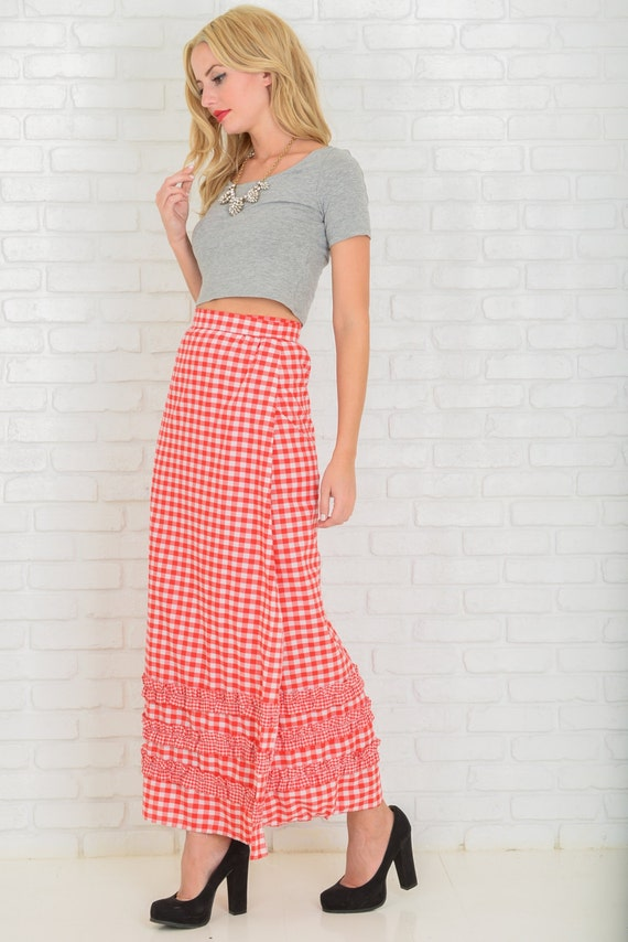 Vintage 60s 70s Red + White Gingham Plaid Maxi Skirt Ruffle A Line Wrap XS S M 3563