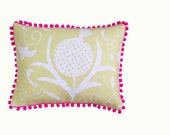 SALE: Yellow Pomegranate cushion with neon pink pompom trim 30cm x 40cm