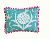 SALE: Aqua Pomegranate cushion with neon pink pompom trim 30cm x 40cm