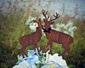 Buck and doe bride and groom-deer wedding cake topper-hunter wedding cake topper-hunting cake topper-deer wedding-rustic wedding