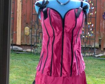 plus size boned raseberry corset size 18-20