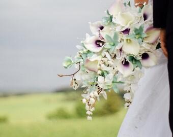 Calla lily orchid cascading bouquet, mint, lavender, purple bridal bouquet, bouquet with pearls