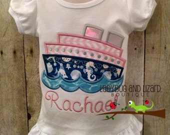 Cruise Ship Ruffle or Flutter Sleeve Top Sizes 2T-5T, 6