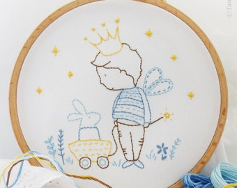 Prince embroidery, Prince baby shower, Baby boy nursery - My private kingdom - Embroidery Kit, Prince crown, Prince birthday, Little prince