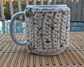 Crocheted Coffee Mug Cozy in Wheat Tweed