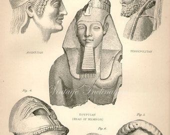 Antique print 1890. Engraving. Sculpture, Ancient Greek Egyptian. 125 years old print. print plate.9.5x6.5 inches, 24x16.5cm